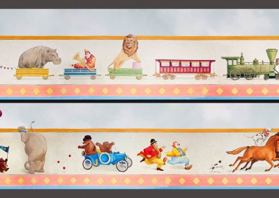 Circus Train 1-2 : Hand Painted circus theme children's mural freeze or border, by Lena Fransioli & Brooke Sheldon, commissioned by Poet Desgin, Hollyowwd.