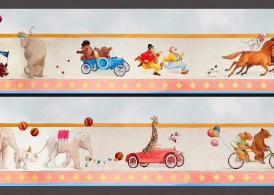 Circus Train 3-2 : Hand Painted circus theme children's mural freeze or border, by Lena Fransioli & Brooke Sheldon, commissioned by Poet Desgin, Hollywood.