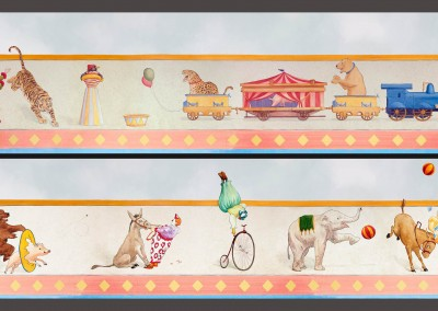Circus Train 4 : Hand Painted circus theme children's mural freeze or border, by Lena Fransioli & Brooke Sheldon, commissioned by Poet Desgin. © Doug Garrabrants 2008