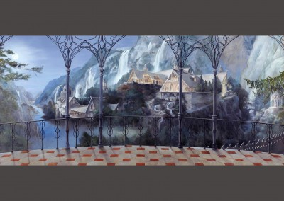 "Paradise Lost : Lena Fransioli and Brooke Sheldon painted this masterpiece depicting a steep river valley with Nordic architecture, waterfalls & steep cliffs on the far side of the canyon, as viewed from an ornate balcony. Up river, to the right is a bridge with someone crossing on foot and a ""folly"" or pergola nearby. The wallpaper measures 23' 7"" x 9' 2"", however we can size it for your specific application."