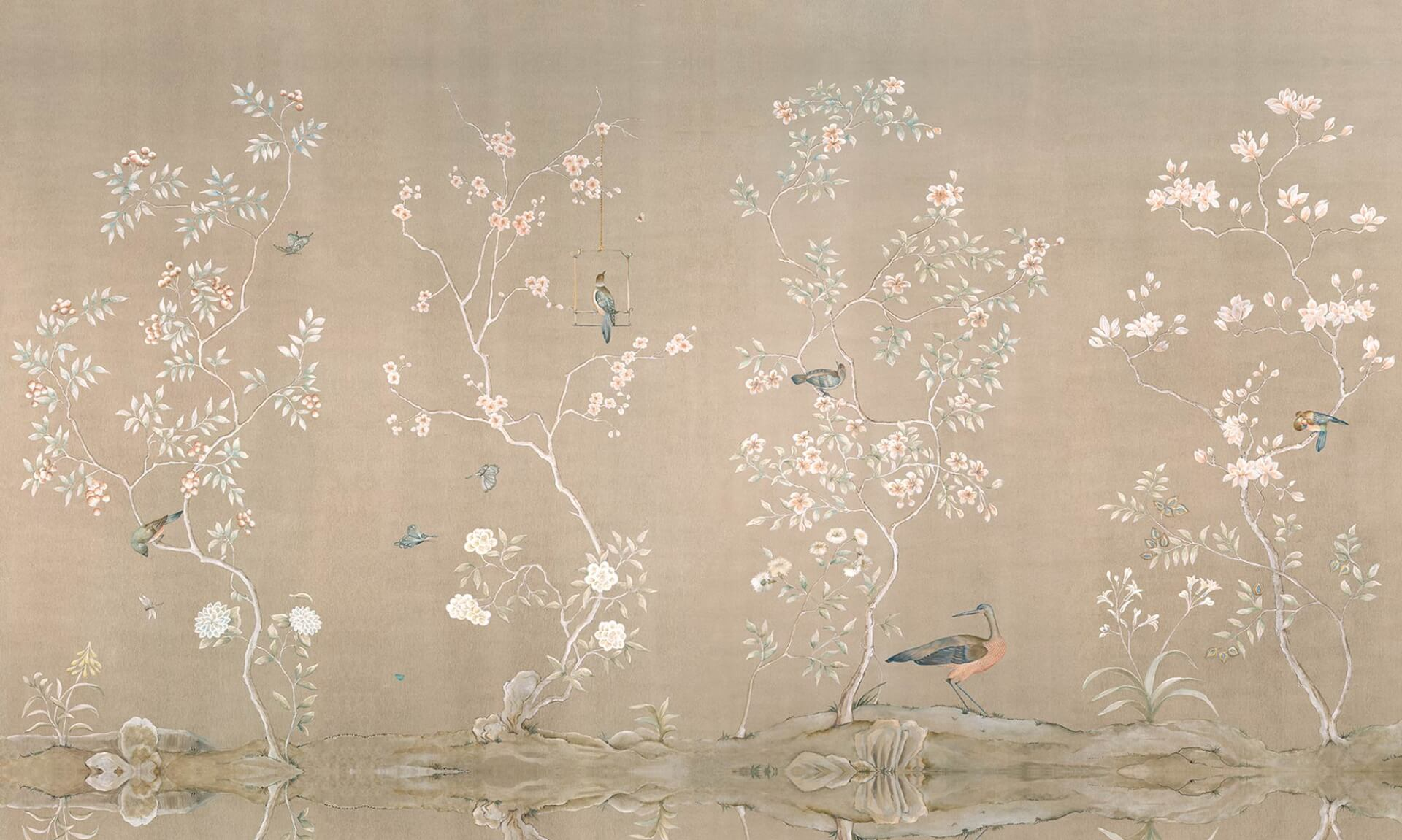 Chinoiserie Mu2017 Hand Painted Mural On Canvas Measuring 15 Feet Long