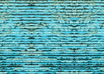 """Fractured Sky (DE0635) : A wallpaper pattern of blue and green abstract stripes. If you look closely you may see small landscapes of water, land and sky. Repeat is 32.75"""" x 28"""". © 2015 DOUG GARRABRANTS"""