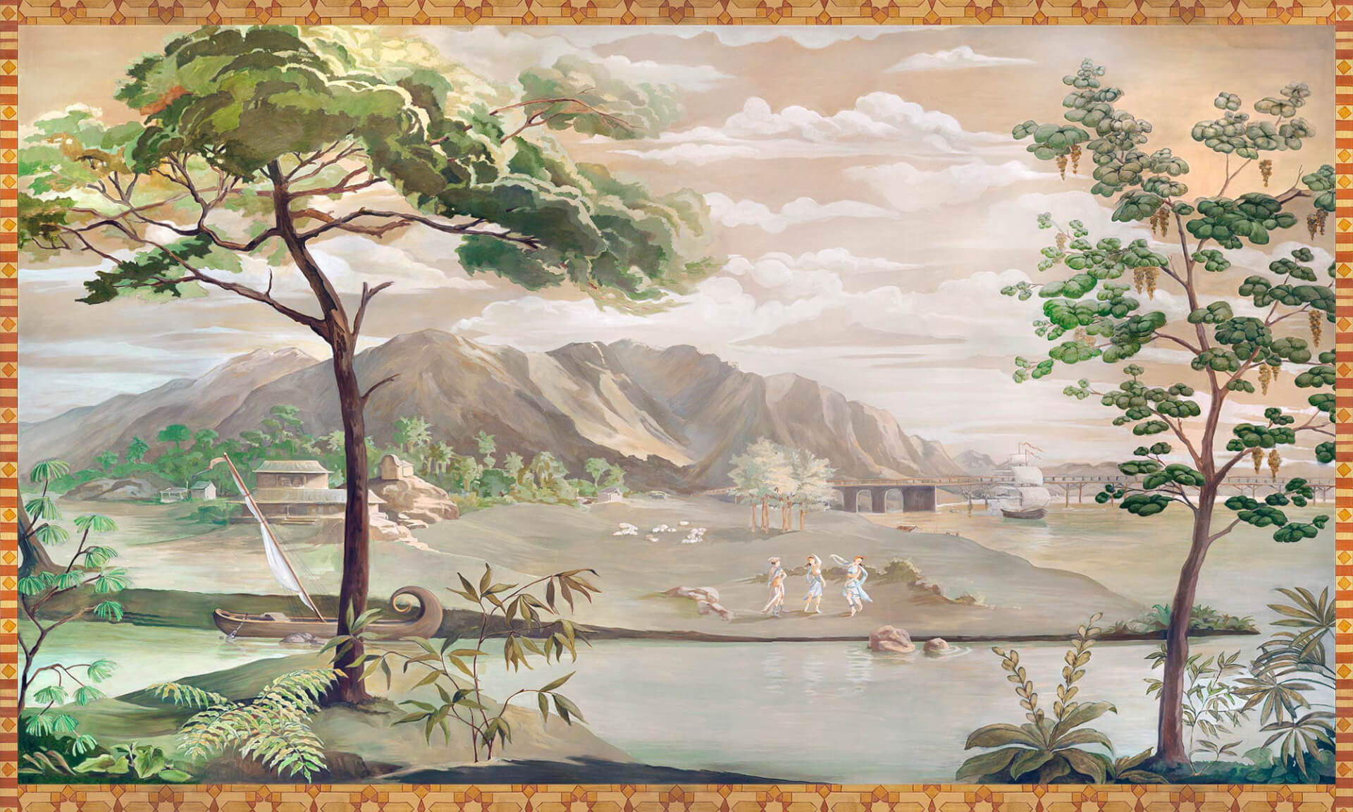 Chinoiserie wallpaper beautiful chinoiserie wallpapers by for Chinoiserie mural wallpaper