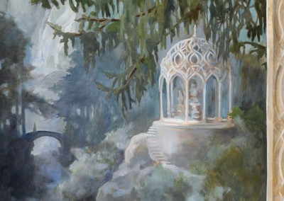 "Paradise Lost (Detail-3) : Up river, a bridge with someone crossing on foot and a ""folly"" or pergola nearby. The wallpaper measures 23' 7"" x 9' 2"""