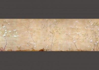 "Teapaper Chinois : This Chinoiserie mural was commissioned by Kristin Paton Interiors, Cambridge, MA and was hand painted by Lena Fransioli & Brooke Sheldon. It is available in archival digital wallpaper 270"" x 97"" inches. © 2010 Doug Garrabrants"