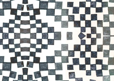 "Checkers (DE9022)-Detail : Created with a potato stamp. The repeat is 31.25"" x 24.2"".  © 2014 DOUG GARRABRANTS"