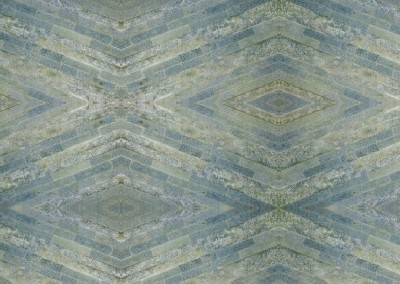 "Stone Tile Diamonds (Blue Green Tile Diamonds) : Diamond wallpaper pattern of layered stone, repeat 67.2""w x 44.8""h max. © Doug Garrabrants 2014"