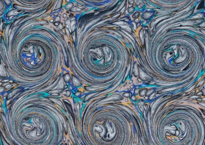 "Ink Swirl (DE4690)-Detail3 : In the Florentine tradition of paper marbling, this large scale pattern can have each swirl up to 5.5"" and a repeat of 4' 7"""" x 3' 7""."