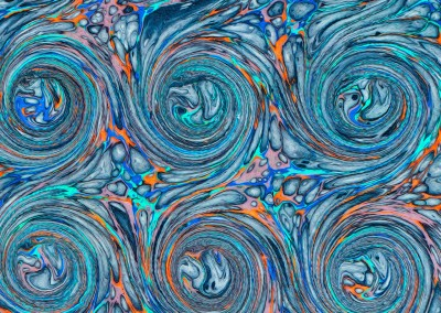"Ink Swirl (DE4690)-Detail4 : In the Florentine tradition of paper marbling, this large scale pattern can have each swirl up to 5.5"" and a repeat of 4' 7"""" x 3' 7""."