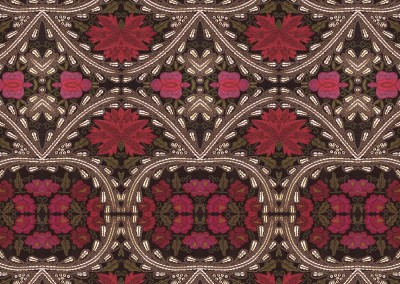 "Chalet (DE3335) : Red and fushia flowers on a dark background with beaded trim. 19"" x 32"" repeat. © 2013 Doug Garrabrants"