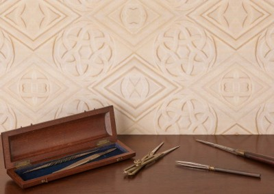 "Transenna (ST3716) : Wallpaper pattern inspired by 9th century stone carvings. Repeat 40""w x 24""h. Shown with a mix of vintage tools, surgical I think. © 2014 Doug Garrabrants"
