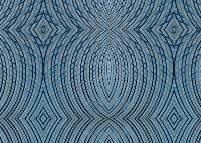 "Peace Out (DE0649)-Detail : Curving lines of bleu and beige, creating a peacefull wallpaper design. Repeat size is 12.5"" x 16.5"". © 2015 Doug Garrabrants"