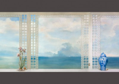 "Mediterraneo : Ocean scene through a trompé l'oeil lattice with Iris, shells, sailboats, birds, and a butterfly in three panels. There is a ceiling panel available as well. The wall panels are 6' 10"" high with the back wall measuring 7' and the side walls 54"" wide. © 2014 Doug Garrabrants"