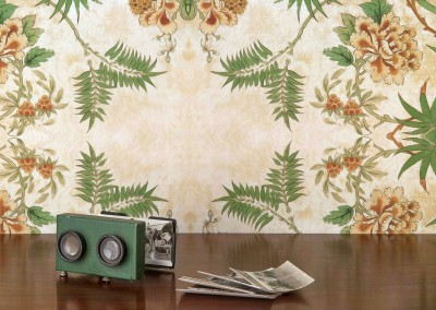 "Passion_FlowerDE2811B@65% : Wallpaper Pattern created from a fragment of antique wallpaper. 26.8""w x 43""h repeat. Shown with a vintage stereo viewer and stereo post cards. © 2014 Doug Garrabrants"