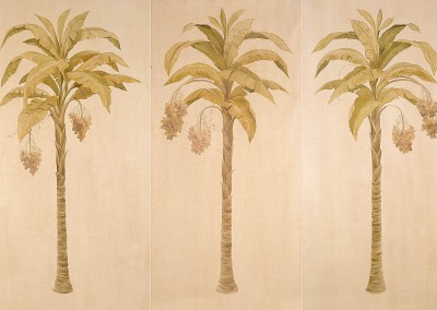 Date Palm 1 : Sue Williams Design in Jamaica, West Indies, wanted a mural on silk. With the humidity in Jamaica, we decided to create a silk finish with matalic paint & glaze. We painted these three 9 foot tall panels with date palms and shipped them, but not before capturing the work for wallpaper reproduction. © 1999 Doug Garrabrants