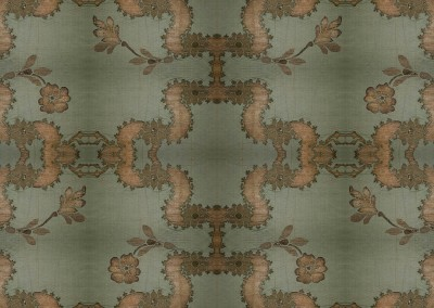 "Lidia Silk Brocade : Wallpaper inspired by 17th century silk with metal thread brocade. 67"" max repeat. © 2014 Doug Garrabrants"