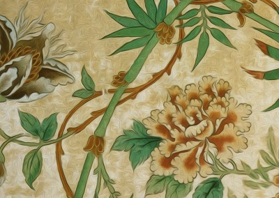 "Passion Flower (DE2811B)-Detail : Created from a fragment of antique wallpaper found in Stockholm. The repeat is 26.9"" x 43.3"". © 2012Doug Garrabrants"