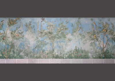 """Villa Livia Fresco : Livia's Garden is a scenic mural hand painted by Lena Fransioli, in Lincolnshire, UK. Available in custom, archival reproduction wall covering, only from Zoë Design. The original fresco""""Villa of Livia"""" (Circa. 30-20 BCE) is housed at the Museo Nazionale Romano, Rome, Italy.29.5' x 6' 8.5"""""""