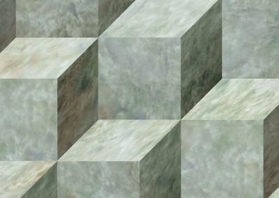 3-D Green Glaze Cubes (Detail) : Modern Art Wallpaper - 6 inch green glaze trompe l'eoil cubes. © Doug Garrabrants 2013