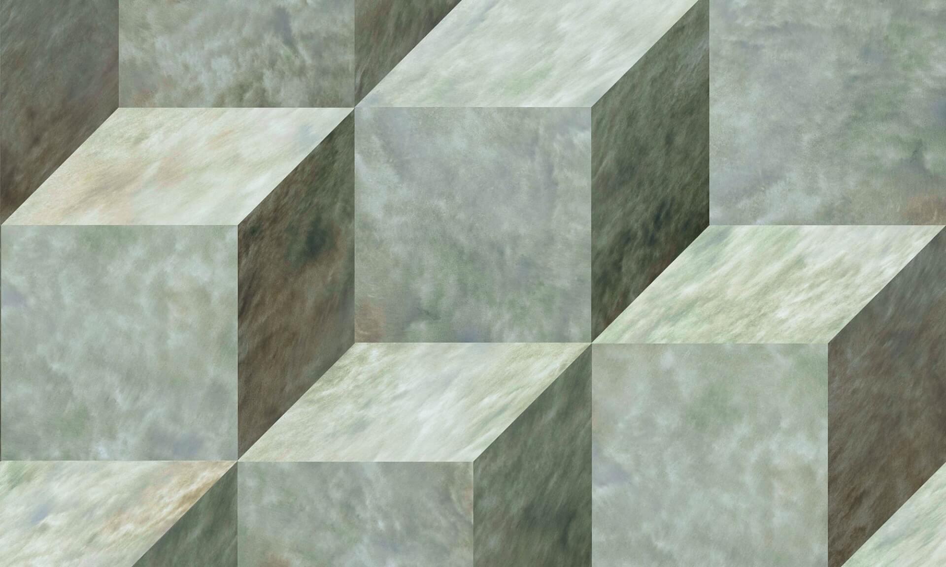 3-D Green Glaze Cubes Doug Garrabrants