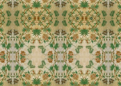 "Passion Flower (DE2811B) : Created from a fragment of antique wallpaper found in Stockholm. The repeat is 26.9"" x 43.3"". © 2012Doug Garrabrants"