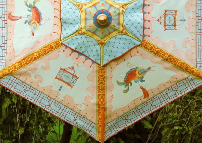 Chinoiserie Umbrella-Top : Bright & colorful Chinoiserie panel painted on an umbrella at the behest of Linda Chase Associates. Hand painted by Lena Fransioli and Brooke Sheldon. © 2010 Doug Garrabrants