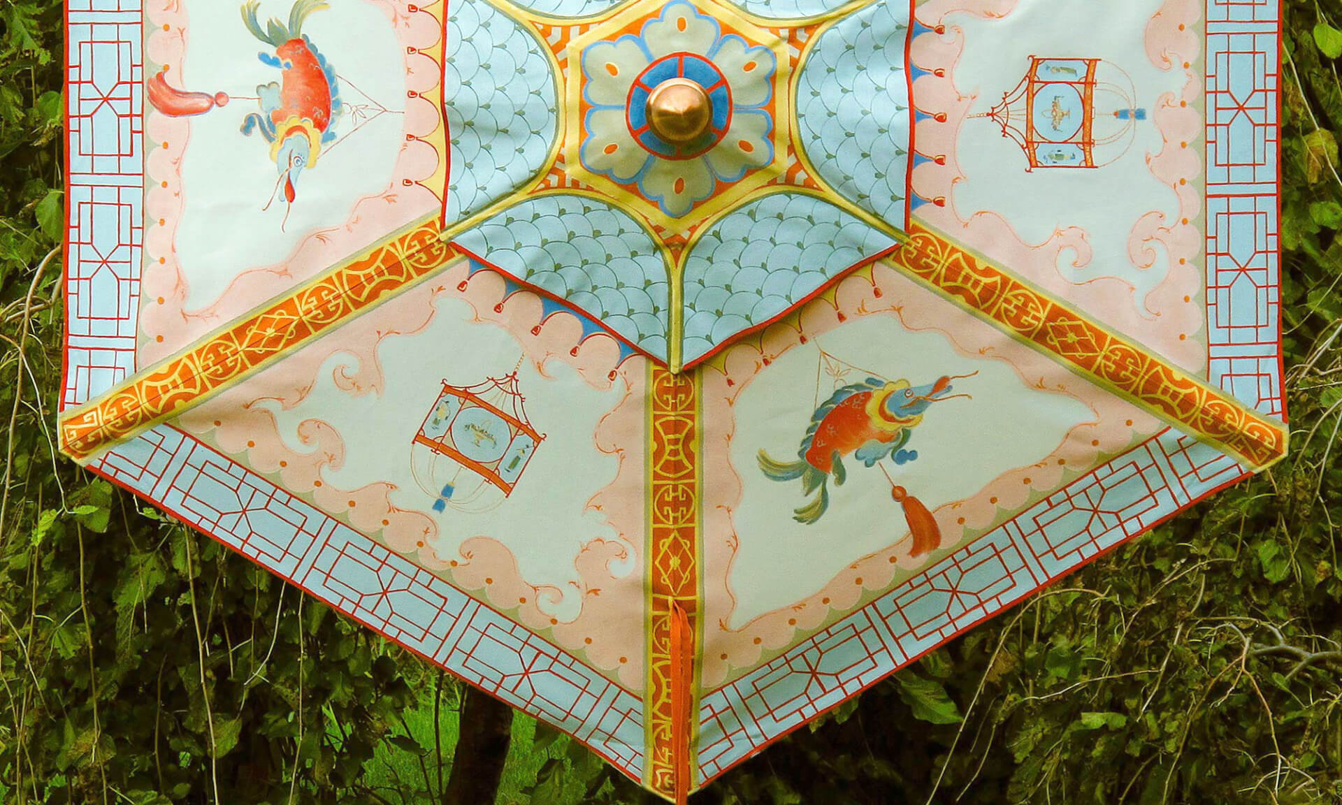 Chinoiserie_Umbrella-Fish Lena Fransioli & Brooke Sheldon [Fish;Chinoiserie;Chinois;bright;colorful;umbrella;zoe design;hand painted]