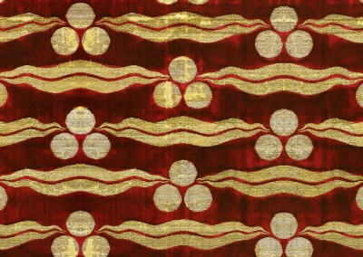 "Lips (TE2783) : Textile pattern of balls and squiggles in golden thread on a deep red background. 8.5"" x 12.75"" repeat. © 2012 Doug Garrabrants"