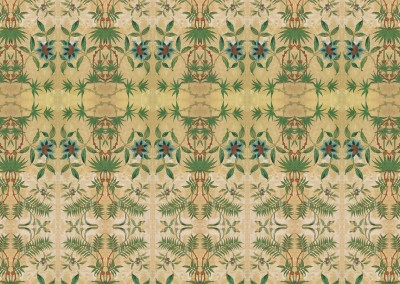 "Passion Flower (DE2813) : Created from a fragment of antique wallpaper found in Stockholm. The repeat is 26.9"" x 43.3"". © 2012Doug Garrabrants"