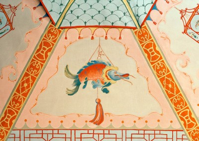 Chinoiserie_Umbrella-Fish : Bright & colorful Chinoiserie panel painted on an umbrella at the behest of Linda Chase Associates. Hand painted by Lena Fransioli and Brooke Sheldon. © 2010 Doug Garrabrants