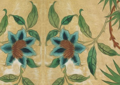 "Passion Flower (DE2813)-Detail : Created from a fragment of antique wallpaper found in Stockholm. The repeat is 26.9"" x 43.3"". © 2012Doug Garrabrants"