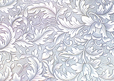 "PEM Silver (Detail) : Inspired by an 1840 silver pattern in the Peabody Essex Museum. Repeat 12""w x 11.75""h standard, max. © Doug Garrabrants 2012"