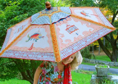 Lena with Chinoiserie Umbrella : Bright & colorful Chinoiserie panel painted on an umbrella at the behest of Linda Chase Associates. Hand painted by Lena Fransioli and Brooke Sheldon.  © 2010 Doug Garrabrants