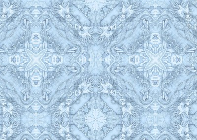 "Peabody Essex Museum Dragons (DE4338-Cool) : Wallpaper pattern inspired by a Chinese watercolor in the Peabody Essex Museum (Circa. 1730). Repeat 12""w x 11.75""h. © Doug Garrabrants 2012"