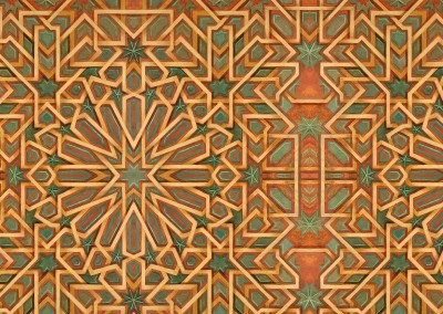 Moroccan : Hand Painted Moroccan pattern, printed on Digital Wallpaper with Archival inks. Based on a tear sheet provided by Lucy Beauchemin of Beauchemin Grassi Interiors. © Doug Garrabrants 2010