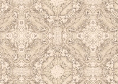 "Peabody Essex Museum Dragons (DE4338-Warm) : Wallpaper pattern inspired by a Chinese watercolor in the Peabody Essex Museum (Circa. 1730). Repeat 12""w x 11.75""h. © Doug Garrabrants 2012"