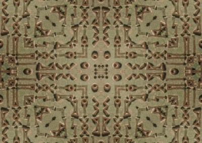 Verdigris Runes (DE9697) ; Panels of runes in a verdigris bronze field. Wallpattern with a 25 inch repeat. © 2014 Doug Garrabrants