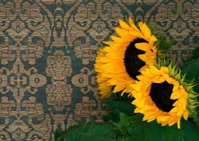 """Textile (DE2758)-Sun Flowers : Giclée wallpaper reproduction based on 13th -  14th century Persian textile. Repeat 15.5""""w x 21.3""""h. © 2014 Doug Garrabrants"""