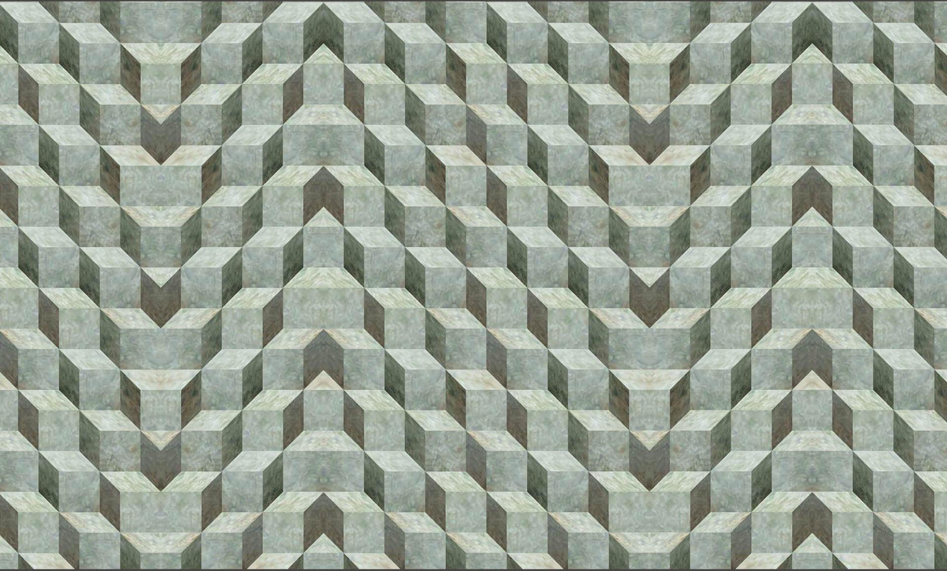 3-D Green Glaze Cubes - Mayan Variation Doug Garrabrants