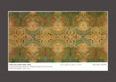 Christie's catalogue page : Christie's: Louis Sullivan (1856-1924) Stenciled panel from the trading room of the Chicago Stock Exchange, Circa 1893. 23 x43 in. $12,000-18,000