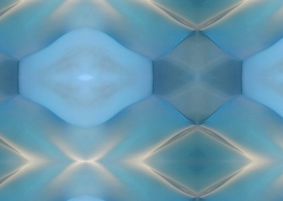 """Geometric Wave MA0291 : Modern Art Wallpaper depicting blue waves, transitions and colisions in a luminous background. 40""""x30"""" max. repeat. © Doug Garrabrants 2014"""