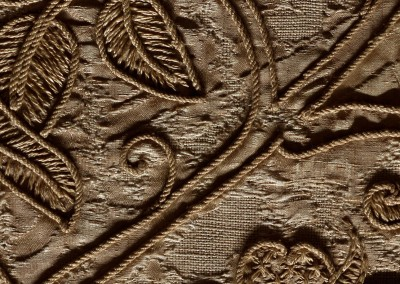 Silk Embroidered Linen (TE9384)-Detail : Wall covering pattern based on 16th century linen, embroidered with silk. © 2014 Doug Garrabrants