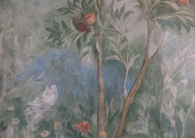 """Villa Livia Fresco (Detail2) : Livia's Garden is a scenic mural hand painted by Lena Fransioli, in Lincolnshire, UK. Available in custom, archival reproduction wall covering, only from Zoë Design. The original fresco""""Villa of Livia"""" (Circa. 30-20 BCE) is housed at the Museo Nazionale Romano, Rome, Italy.29.5' x 6' 8.5"""""""