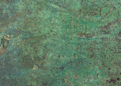 "Bronze Cannon (MW9742)-Detail : This verdigris wallcovering was created from the barrel of an antique bronze cannon. The repeat is 45"" x 67"". © 2015 DOUG GARRABRANTS"