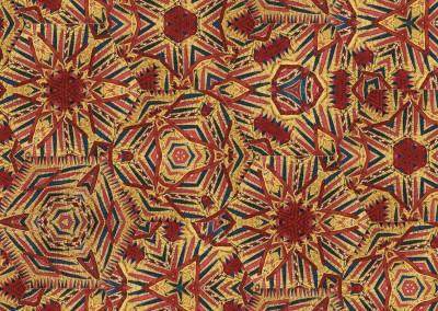 """Quilted (TE0482) : Quilted hexagonal tribal pattern with each hexigon up to 20"""" across. Available as a wallpaper, printed fabric, glass partition. Can you imagine this on an umbrella? © 2015 Doug Garrabrants"""