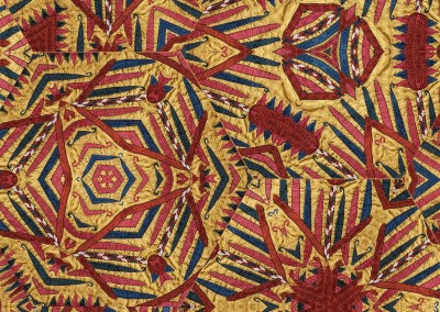 """Quilted (TE0482)-Detail : Quilted hexagonal tribal pattern with each hexigon up to 20"""" across. Available as a wallpaper, printed fabric, glass partition. Can you imagine this on an umbrella? © 2015 Doug Garrabrants"""