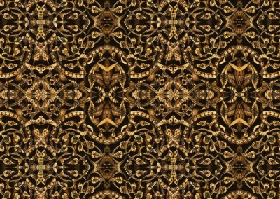 "Bias Relief (DE2755) :  Wallpaper pattern inspired by 10tyh Century Spanish Ivory. Repeat 5.5"" x 6"".  © Doug Garrabrants 2014"