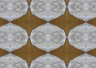 "Silver & Rust MA0289 :  Modern Art Wallpaper with chrome shapes on a rust background. 36""x29"" max. repeat. © Doug Garrabrants 2014"