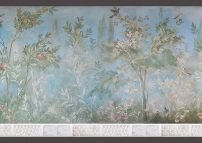 """Villa Livia : Livia's Garden is a scenic mural hand painted by Lena Fransioli, in Lincolnshire, UK. Available in custom, archival reproduction wall covering, only from Zoë Design. The original fresco""""Villa of Livia"""" (Circa. 30-20 BCE) is housed at the Museo Nazionale Romano, Rome, Italy.29.5' x 6' 8.5"""""""