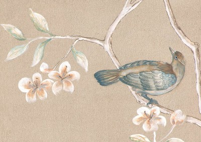Chinoiserie (MU2011) Detail-4 : Hand painted Chinoiserie mural on canvas, measuring 15 feet long. The original was created for Honey Collins Design & the Wenham Museum Designer Showhouse 2011 in 4 panels. It is available on wallpaper, canvas or etching paper. © 2011 Doug Garrabrants